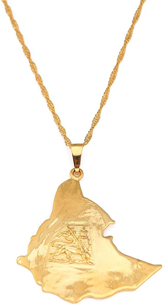 24K Gold Plated Map of Ethiopian Lion Pendant Necklace Africa Gold Chain Necklace Map Jewelry