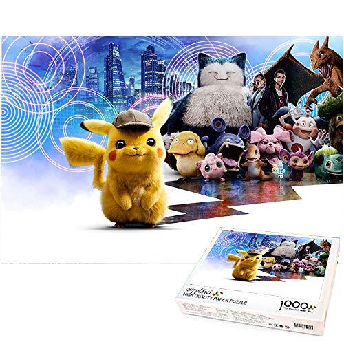 Rompecabezas Infantil 1000 Piezas Detective Pikachu Temas Juegos de Rompecabezas Presente y Regalo para Amantes o Amigos Decoración del hogar 70x50cm-Detective Pikachu Pokemon