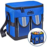 Outrav Blue Padded Insulated Cooler – 30 Can Capacity - Soft Collapsible Leak Proof Tote for Camping, Picnics and Travel – Large Main Compartment, 2 Front Pouches, Handle and Shoulder Strap