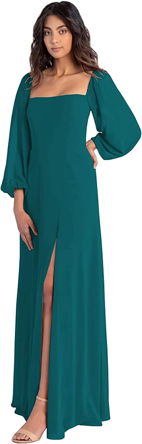 BONOYUER Women's Puffy Sleeve Bridesmaid Dresses Chiffon A-line Square Neck Long Formal Prom Dress with Slit