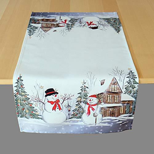 Kamaca Serie Schneemänner hochwertiges Druck-Motiv Weihnachtstischdecke Winter Weihnachten (Tischläufer 40x85 cm, Mehrfarbig)