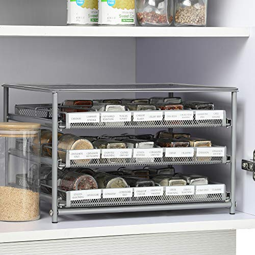 NEX 3 Tier Spice Rack, Cabinet Spice Organizer Storage Drawer with Labels, Metal Kitchen Shelf for Countertop Pantry, Silver