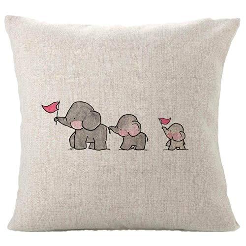 yywl Cojín de moda con diseño de tres elefantes, para el hogar, mezcla de lino, 45 x 45 cm