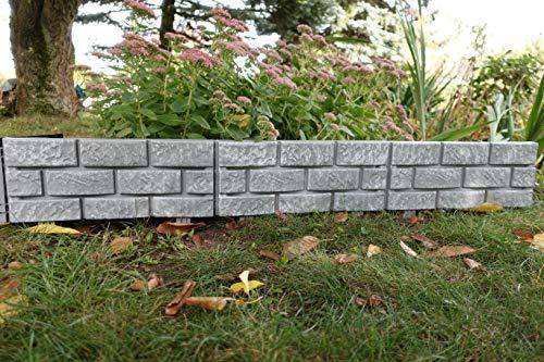 WOOLUX GARDEN Zaun 4 TLG. Beeteinfassung Rasenkante Gartenzaun antikgrau 1,74 m