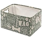 Geyecete Dog Toys Storage Bins Canvas Printing pet Baskets,with Designed Metal Bone-Shaped Handle,Pet Toy and Accessory Storage Bin-Green