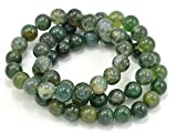 Paialco - Set di 3 braccialetti con perline in agata verde e senza metallo, cod. U8JB10245GY10917