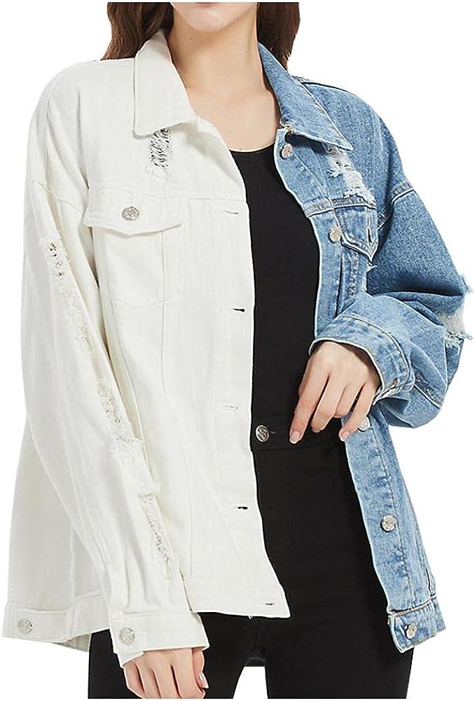 SCOFEEL Women's Distressed Patchwork Jean Coat Long Sleeve Loose fit Button Down Denim Jackets