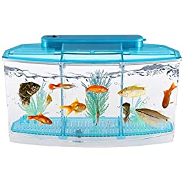 LLDKA Desktop Aquarium self-cleaning ecological goldfish tank rectangular hatch Place seedlings aquariums