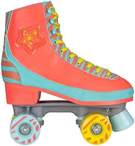 Nijdam Mädchen Rolles Skate LED Zebra Roller Skate LED Zebra, Orange, 39/40, 52RY-OBG-39/40