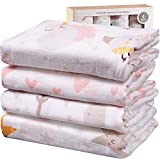Viviland Baby Muslin Swaddle Blanket with Gift Box | 70% Bamboo 30% Cotton Receiving Blanket | 4 Packs, 47 X 47 inch, Unicorn,Star,Love,Tree