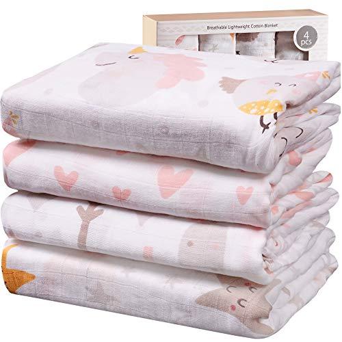 Viviland Mantas de Muselina de Bambú Algodón,Muselinas Pack de 4,Mantitas para Bebes 120x120 cm, Unicornio, Estrella, Amor, Árbol