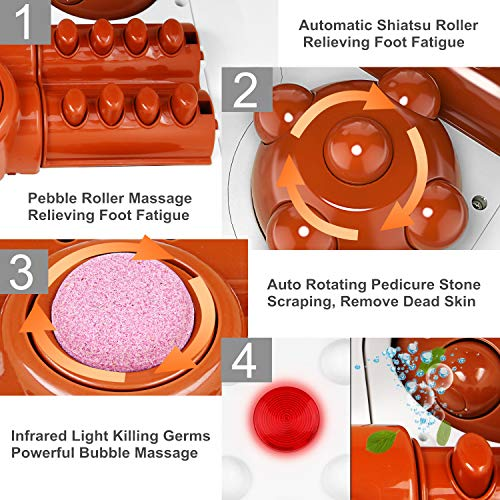 Foot Spa Bath Massager with Heat and Bubble Jets, Up & Down Shiastu Electric Massage Motorized Wheel Rotatable Pedicure Stone Red Light Adjustable Time & Temperature Relieve Foot Fatigue