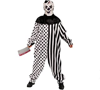 Country-living Mens Halloween Clothes Funky Punk Droll Clothes Man's Clown Costume for Festival Black, White