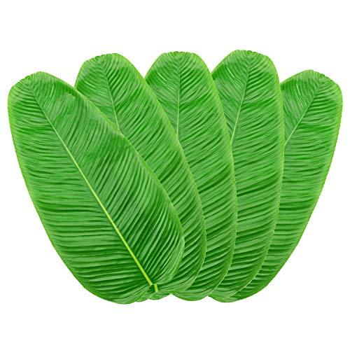 Hojas artificiales de plátano, hoja de arreca, hoja tropical verde falsa, hoja de la selva hawaiana camino de mesa, mantel individual individual para el hogar, cocina, decoración de fiesta (5 piezas)