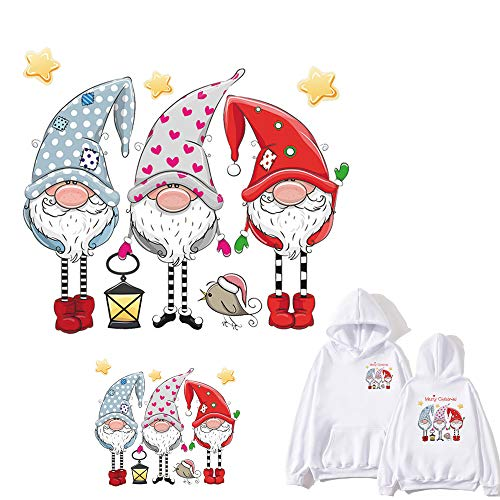 Christmas Gnome Patches Iron On Stickers Xmas Elf Heat Transfer Iron Appliques Cute Santa Claus Swedish Figurines Design Iron On Decals for Pillow Covers T-Shirt Jackets Hoodies DIY Decoration 2 PCS