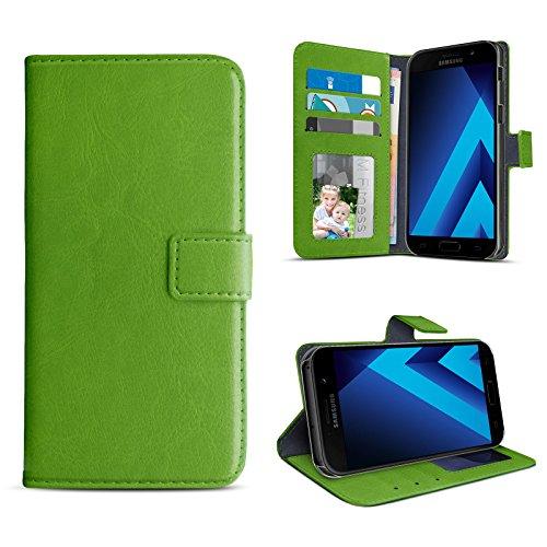 eFabrik Book Case für Samsung Galaxy A3 2017 Tasche Schutz Hülle Cover (SM-A320F   A320) Schutztasche Schutzhülle Etui Leder-Optik, Farbe:Grün