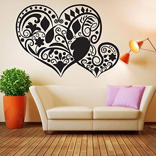 ZZLLL Vinilo Adhesivo para Pared Tatuaje corazón Flor Amor Flor decoración Pared calcomanía Tatuaje Pared decoración Mural Vinilo Art Deco Papel Tapiz 80x57