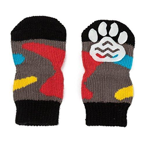 Pet Heroic 6 tamaños Calcetines antideslizantes para perros gatos, Protectores de patas para perros gatos, control de tracción para el uso en interiores, ajuste para perros extra pequeños a grandes