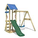 WICKEY Aire de jeux TinyWave Tour d'escalade Maisonnette de jeu avec toboggan et balançoire, bac à sable et échelle à grimper, toboggan vert + bâche bleu