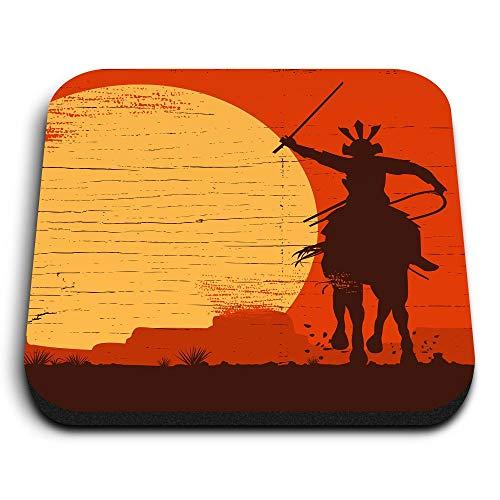 Destination 12943 - Imanes cuadrados de madera de densidad media, diseño de guerrero Samurai en caballo para oficina, gabinete y pizarra, pegatinas magnéticas, diseño de guerrero