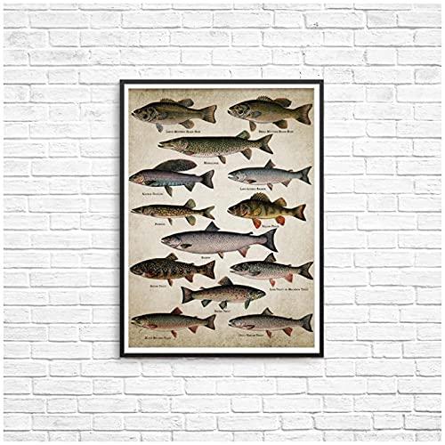 artaslf Arte de pesca con caña pintura en lienzo carteles impresiones razas de peces peces de agua dulce decoración de la habitación del hogar,50x70cm sin marco