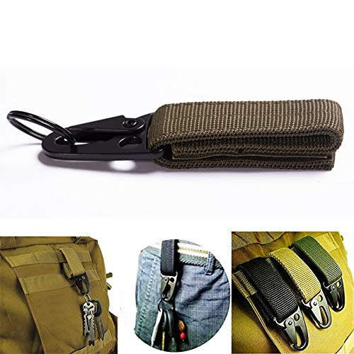 Mousqueton militaire à boucle pour clés avec sangle en nylon, système d'attache MOLLE, vert militaire