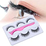 False Eyelash, 3D Handmade False Eyelashes Extension, 3 Pairs Long Soft Reusable Natural look False Eyelashes