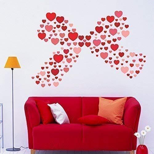 Día de San Valentín Regalo Pegatinas corazones Póster Mural de la pared adhesivos vinilo decoración del hogar papel pintado Kids regalo 105x 125cm)