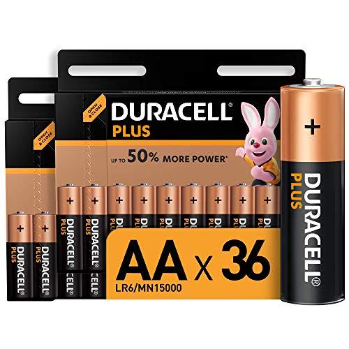 Duracell - Plus AA, Pilas Alcalinas (paquete de 36) 1,5 Voltios LR06 MN1500