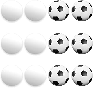12 Pack of Mixed Foosballs – for Standard Foosball Tables & Classic Tabletop Soccer Game Balls (6 Black & White Soccer) (6 Smooth White) by Brybelly