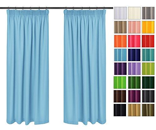 Rollmayer Vorhänge mit Bleistift Kollektion Vivid (Himmelblau 14, 135x150 cm - BxH) Blickdicht Uni einfarbig Gardinen Schal für Schlafzimmer Kinderzimmer Wohnzimmer