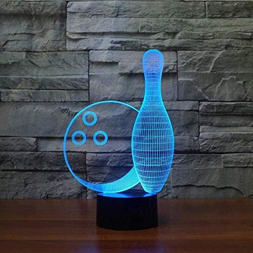 YOUPING 3D-Illusionslampe LED-Nachtlicht Fernbedienung Bowlingkugel Optische Tischlampe Bulbing 7 Farben Stimmungsänderung USB Kinderschlaflampe Raumdekoration