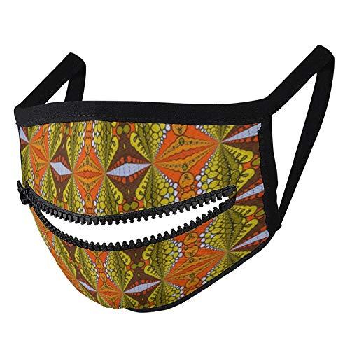 Hustor Retro-Gesichtsmaske, modern, olivgrün, orange, braun, mit Reißverschluss, wiederverwendbar, waschbar, für Damen und Herren