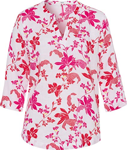 BRAX Velia Linen Printed Geblümte Leinenbluse Camicia, Rosso (Paradise Red 42), XX-Large (Taglia Produttore: 44) Donna