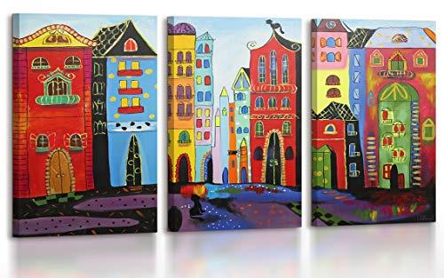 YS-Art Acryl Gemälde Traum Stadt | Handgemalt | 120x80cm | Wand Bild | Moderne Kunst| Leinwand | Unikat | Rot |3-teilig