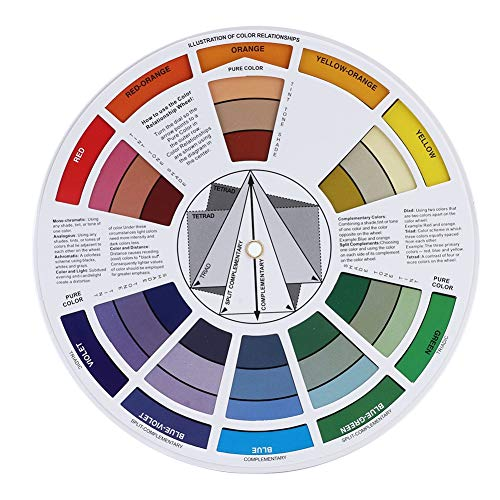 9.25inch JimKing 3 Packs Creative Color Wheel Paint Mixing Learning Guide Art Class Teaching Tool for Makeup Blending Board Chart Color Mixed Guide Mix Color