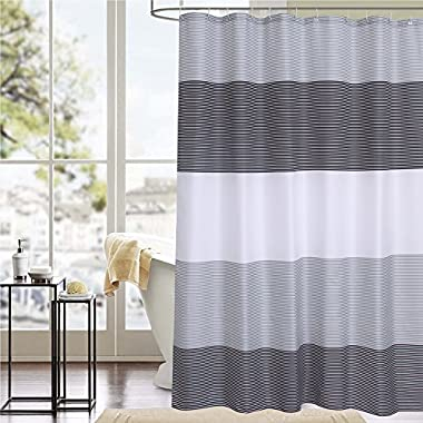 Cryseam Shower Curtain with 12 Hooks, Mildew Resisant Polyester Fabric Bathroom Curtain, Water Repellent and Anti-bacterial,Simple the Colorfull Strip, 8080 Inches
