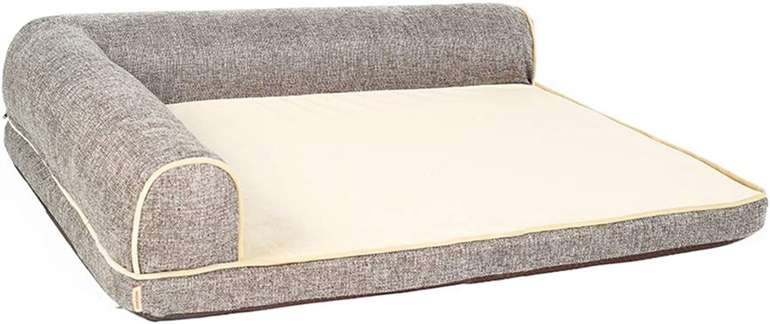 Dog Bed Large Mat 27.5 Inch Crate Mattress With Pillows, Non Slip Washable Cushion Pad for Pets Sleeping Coffee color (Size   S(70×50×18cm))