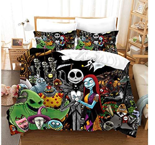 QGHZSCS Pesadilla Antes de Navidad Funda nórdica con Funda de Almohada Juegos de Cama Jack y Sally 3D Skull Juego de Ropa de Cama de Navidad Decoración de Dormitorio 135X200 Cm
