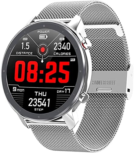 L11 Android Smart Watch iOS Mens Clothing 1 3 TFT Full Round 360 360 Frecuencia Cardíaca Yoga Múltiples Deportes Smartwatch Impermeable IP68 (Color: Plata) (Plata) (Plata)