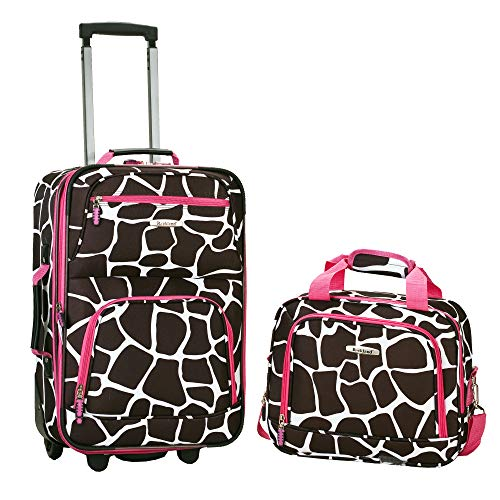 Rockland Fashion Softside Upright Luggage Set, Pink Giraffe, 2-Piece (14/20)