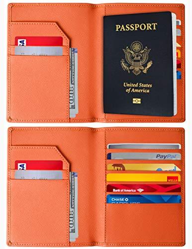 RFID Blocking Passport Holder – Genuine Leather RFID Passport Holder – Slim Passport Wallet Cover Case (Orange)