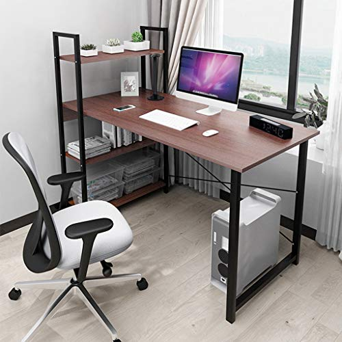 Computer Desk with Book Shelves, Craft Table with Storage Student Study Desk 40-inch Home Office Space-Saving Design Bookshelf Desk Combination for Kids (Coffee)