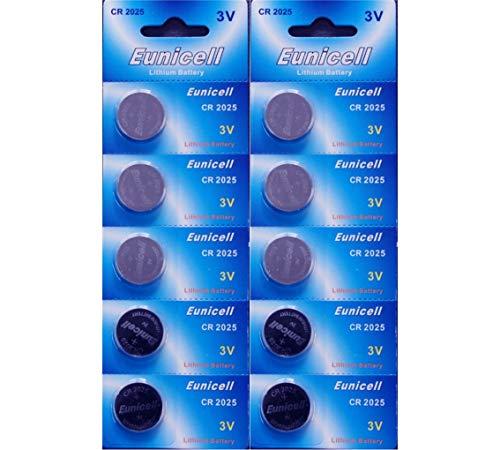 Eunicell CR2025 Lithium-Knopfzellbatterie, 3V, BR2025 DL2025 KCR2025, 10 Stück