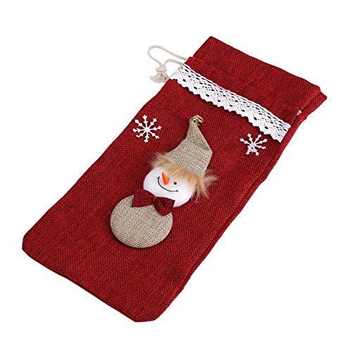 HERCHR Bolsos del Vino de la Navidad, Bolsos de la Cubierta de la Botella de Vino del Hombre de la Nieve para los Regalos de la decoración de la Navidad(Rojo)