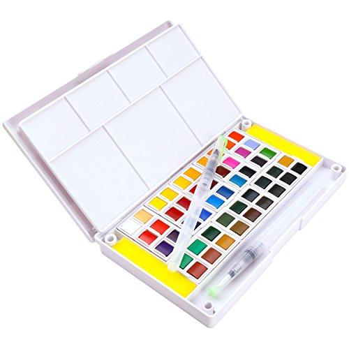 Dyvicl - Juego de pintura para acuarela, 48 colores surtidos, incluye 2 cepillos de agua, 2 esponjas, 1 paleta de mezcla, kit de acuarela de viaje