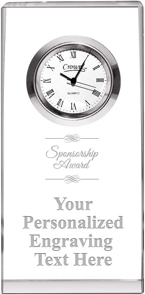 Crown Awards Sponsorship Max 78% OFF Award Crystal Free Engr Opti-Clock with Attention brand