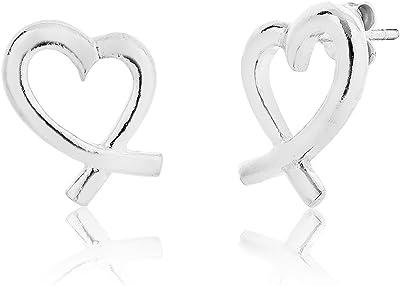 DTP Silver - Pendientes de mujer en forma de Corazón 13 x 16 mm - Plata de Ley 925