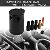 Sporacingrts Compact Black Baffled 3-Port Oil Catch Can+ 0.41'' 10.3mm Oil Drain Cock Valve, 2 Inlets 1 Outlet
