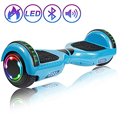 "Hoverboard Self Balancing Scooter 6.5"" Two-Wheel Self Balancing Hoverboard with Bluetooth Speaker and LED Lights Electric Scooter for Adult Kids Gift UL 2272 Certified Fun Edition - Carbon Blue"